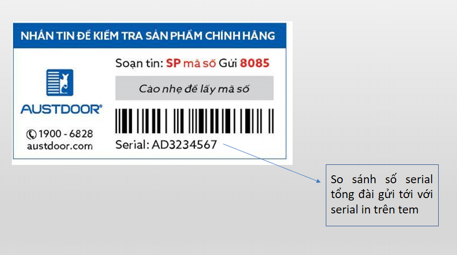 tem bảo hành điện tử Austdoor