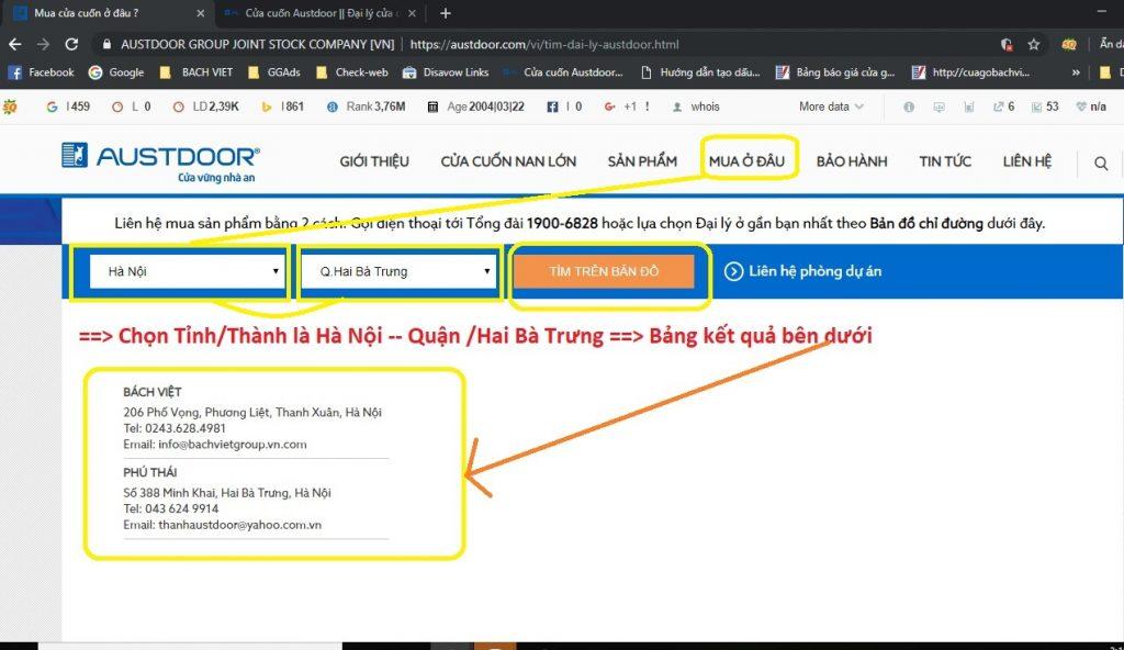Cách tìm đại lý austdoor chính hãng trên giao diện desktop